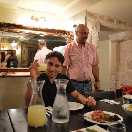 Prof. Magdassi and Michael at Roza restaurant