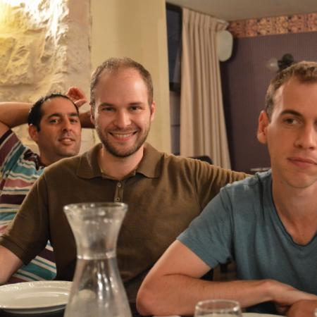 Yaniv, Isaac and Eitan at Roza restaurant
