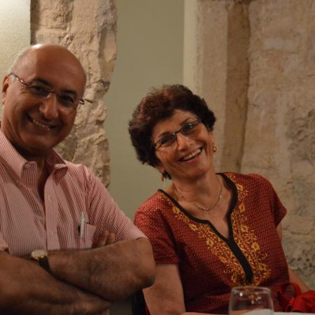 Prof. Magdassi and Tzila, his wife, at Roza restaurant