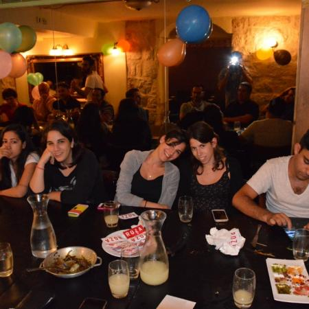 Ella, Daniel and Efrat Resnick at Roza restaurant