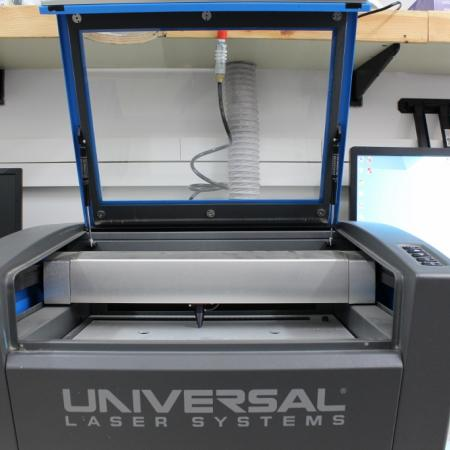 Laser engraver with its lid open