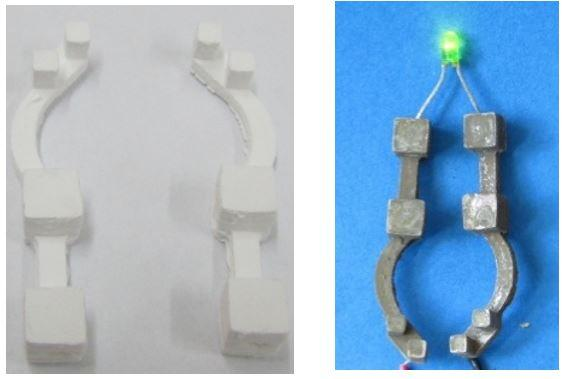 Fig. 1: Printed 3D porous (left) and conductive objects (right)