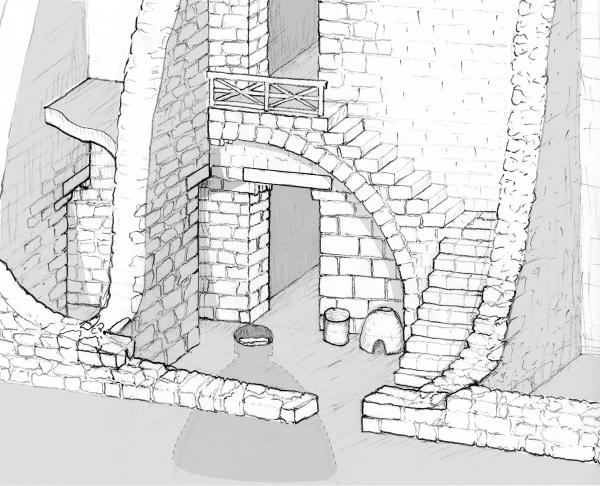 Reconstruction of an Early Roman domestic structure and courtyard in Area C  (B. Arubas and M. Edelcopp)