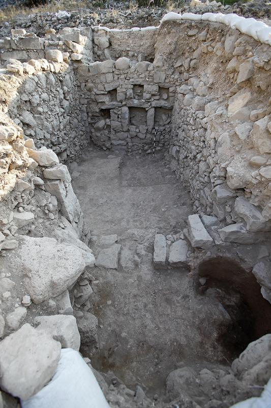 An Early Roman domestic structure buried beneath the Late Roman Synagogue (upper left). Photo: G. Laron