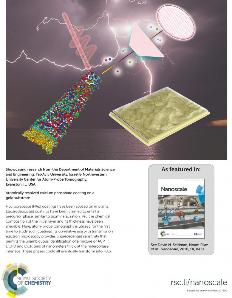 Atomically resolved calcium phosphate coating on a gold substrate