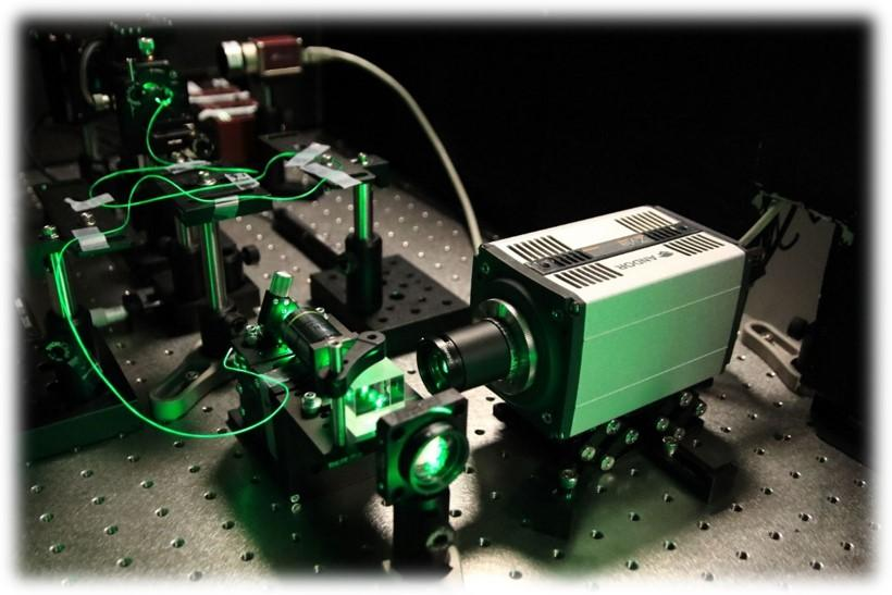 An experimental setup, incorporating Multi-Core-Fiber for Super-Resolution imaging. Image Credit: Noam Shekel