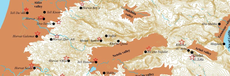 map of Hellenistic period sites in galilee, which were surveyed by our team