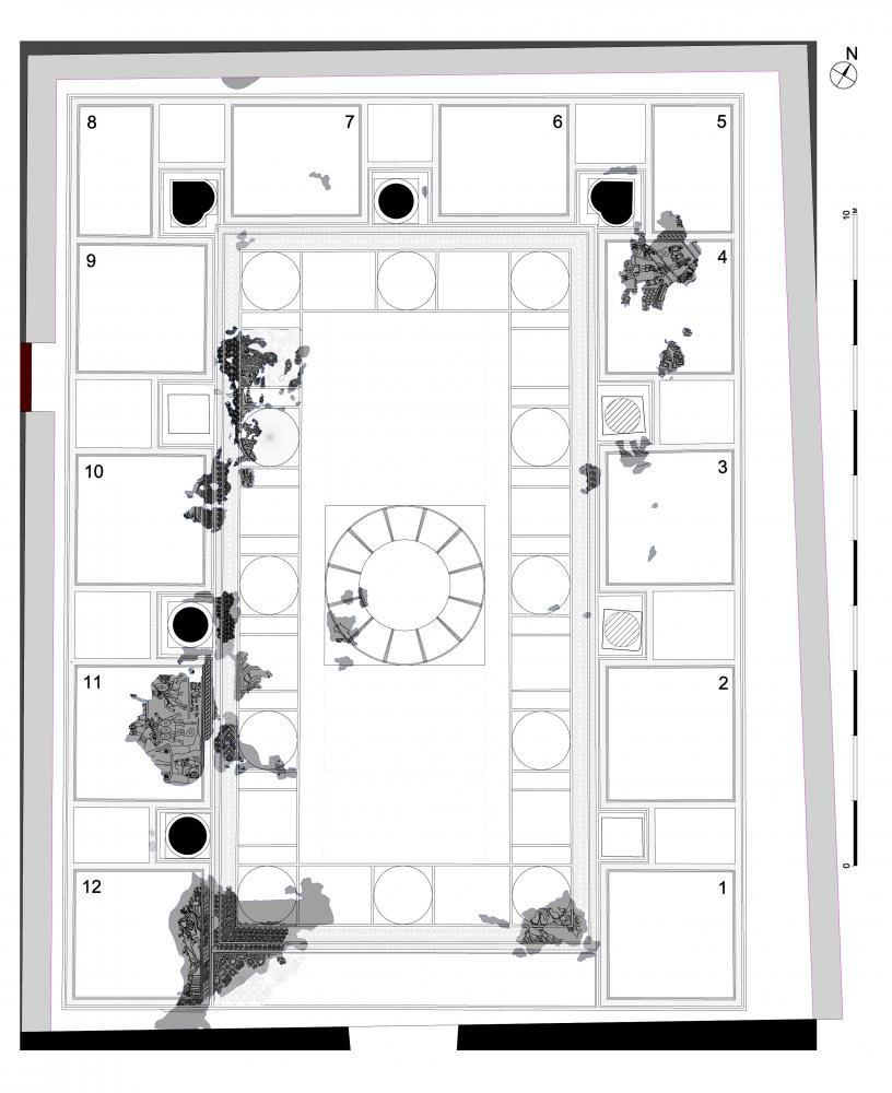 Plan of the mosaic in the second phase of the synagogue. Preserved fragments are indicated in gray. Drawing by M. Edelcopp