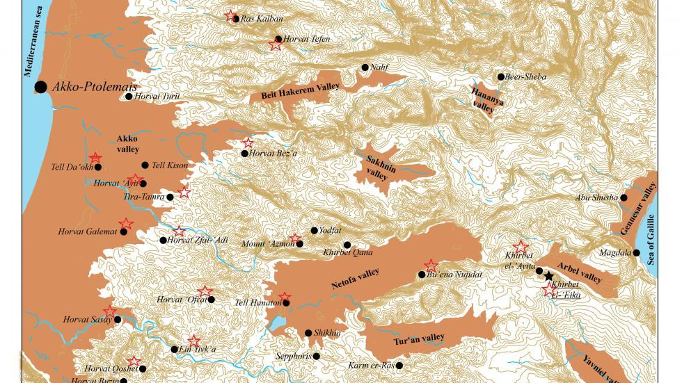 Map of Hellenistic period sites in the Galilee, which were surveyed by our team