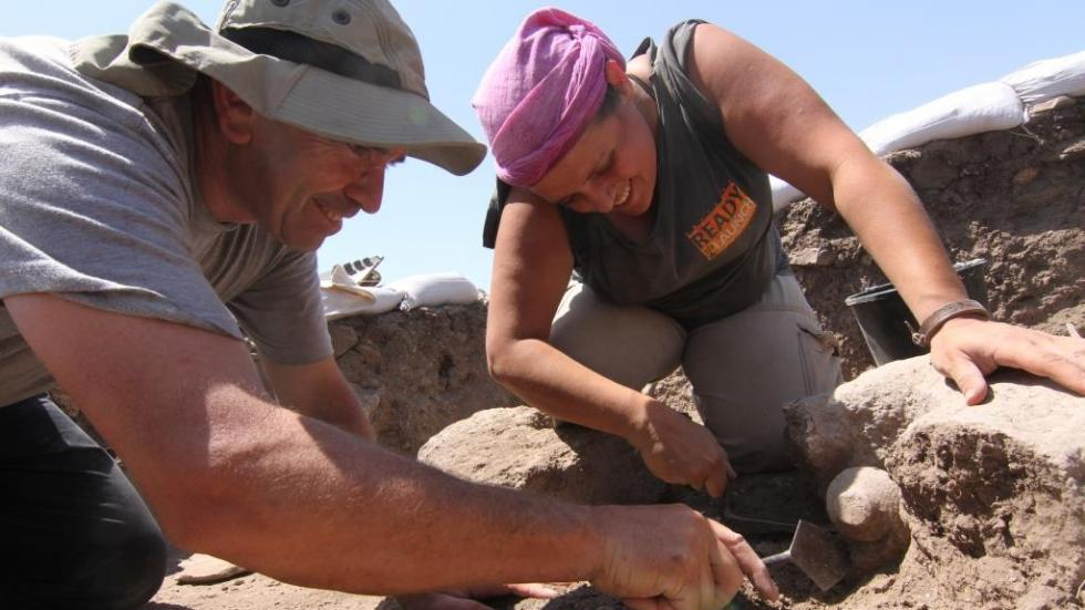 Uzi and Yuli excavating in area F