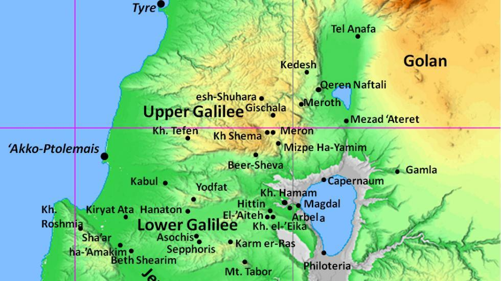 Map of Hellenistic sites in the Galilee and its surroundings
